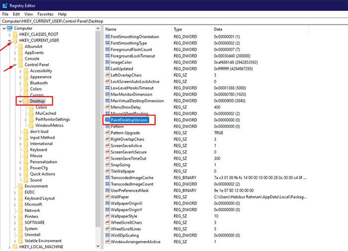 registry editor - Remove Windows 10 Watermark